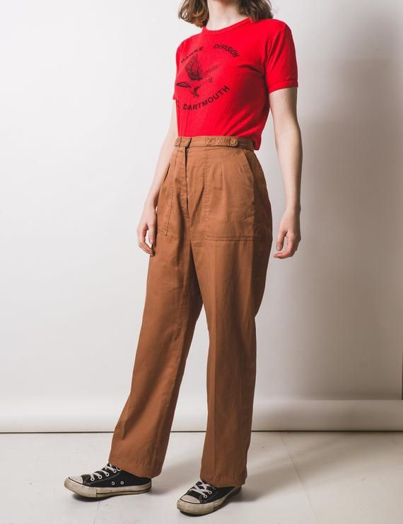 9295a69839ea Orangey brown high waisted trousers // workwear aesthetic // stripe texture  detail // 70's fashion // approx uk 14//