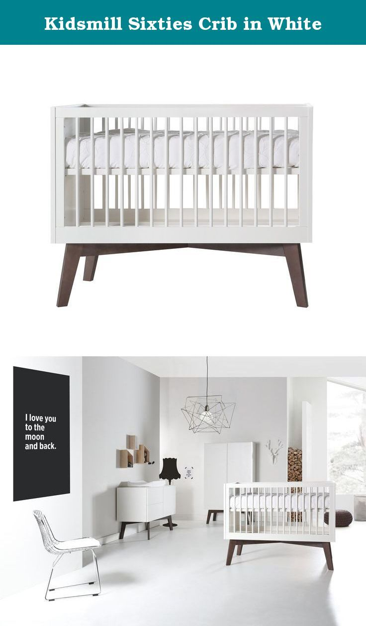 """Kidsmill Sixties Crib in White. A high quality, contemporary design nursery with the focus on convenience, and all with a wink to the 1960s. The mattress base can be adjusted to 3 different heights. The crib can easily be converted to a toddler bed at a later stage. A low crib side is supplied with the crib. Features: Made in Europe Easy to assemble 3 adjustable mattress positions Conversion kid included to convert the crib to a toddler bed Dimensions: width 30"""" / height 40¾"""" / length…"""