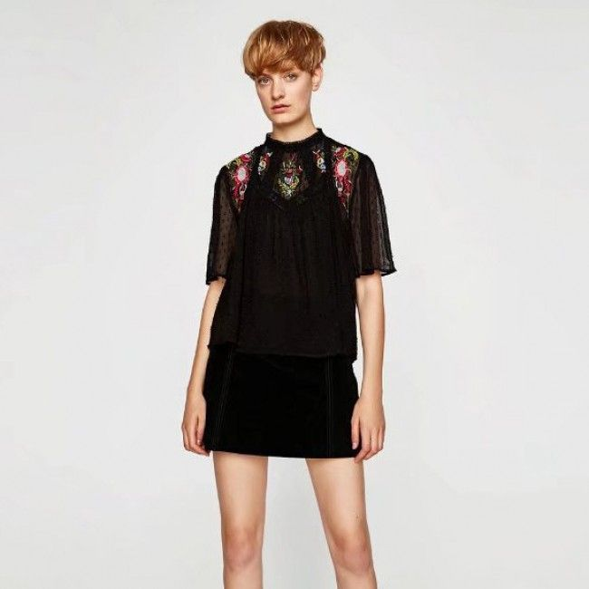 Black Floral Embroidered Loose Fit Mesh Top