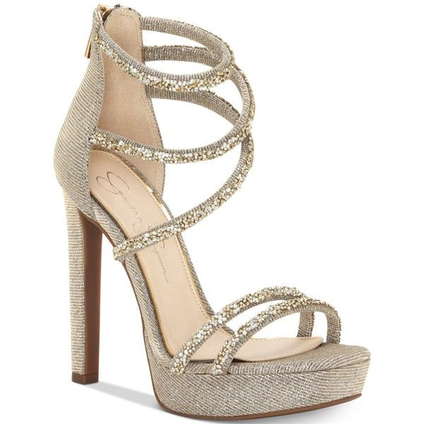 Jessica Simpson Beyonah Platform Dress Sandals ($110) ❤ liked on Polyvore featuring shoes, sandals, gold multi, gold glitter shoes, jessica simpson sandals, sparkly sandals, platform dress sandals and gold strappy sandals