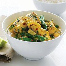 Curry indien au poulet et à la noix de coco.