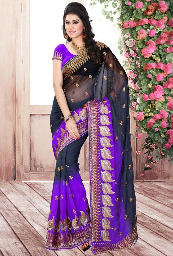 Black and Purple Chiffon Saree