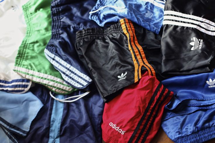 10 pair lot of vintage adidas shiny nylon shorts some