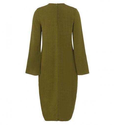 mehndi green cotton kimono sleeve midi
