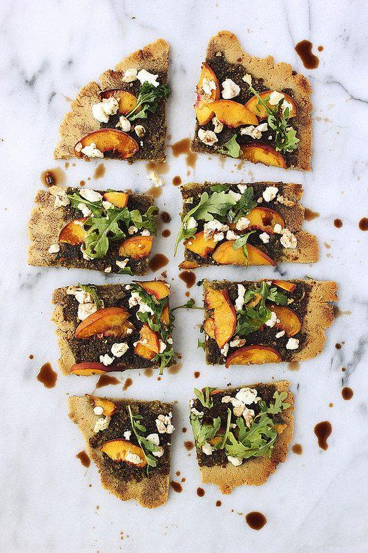 Grain-free Flatbread with Balsamic Basil Pesto, Peaches, Goat Cheese and Arugula / Tasty Yummies