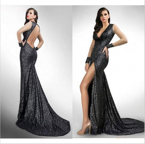 Hot Sale 2016 Sexy Mermaid V Neck Court Train Zipper Evening Dresses Sequin Cloth Grasp Fold Net/Tulle Long Sleeve Sequined Cuffs