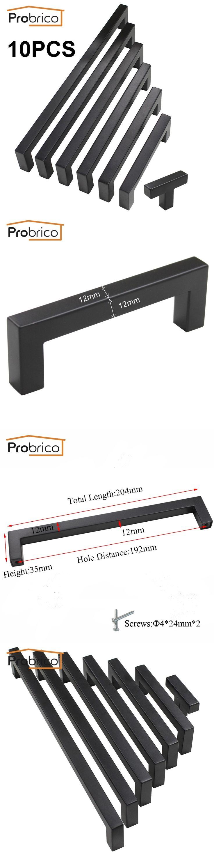 Probrico 10 PCS Black Cabinet Handle 12mm*12mm Square Bar Stainless Steel Kitchen Door Knob Furniture Drawer Pull PDDJS12HBK