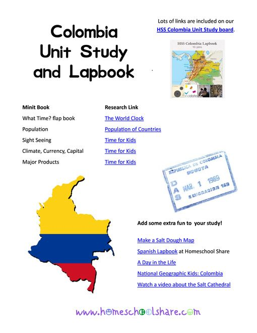 Colombia Country Unit Study and Lapbook