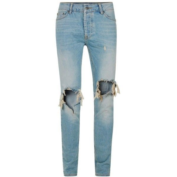 Men's Topman Ripped Stretch Skinny Jeans ($85) ❤ liked on Polyvore featuring men's fashion, men's clothing, men's jeans, mens destroyed jeans, mens distressed skinny jeans, topman mens jeans, mens skinny jeans and mens stretchy jeans