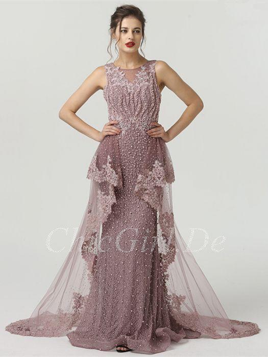 Meerjungfrau Abendkleid Ballkleid U Boot Ausschnitt Altrosa Tull Perlen Spitze Schleppe Ballkleid Altrosa Prom Dresses Formal Dresses Dresses