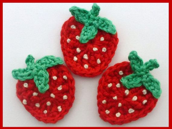 Crochet applique 3 small crochet strawberries by MyfanwysAppliques, £2.25