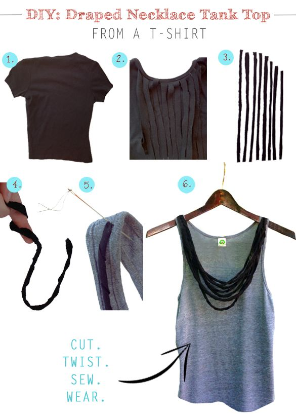 DIY: Give your tank top a makeover with this simple tutorial. All you need is a t-shirt, scissors and needle & thread.