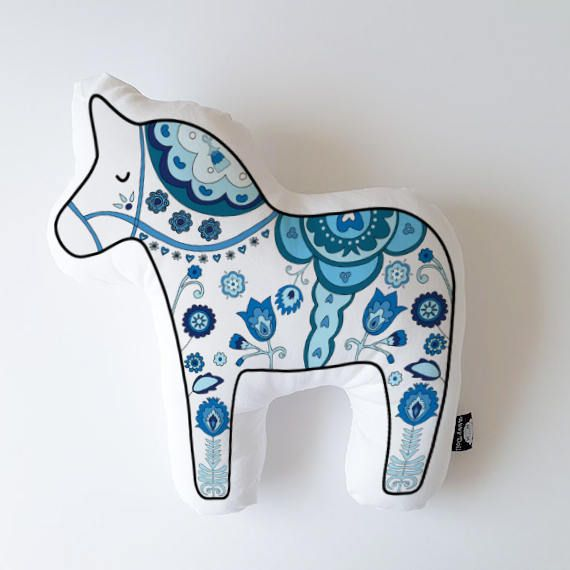 Excited to share the latest addition to my #etsy shop: Dala horse, animal pillow, decorative pillow, throw pillow, animal cushion, nursery pillow, scandinavian pillow, animal home decor, horse http://etsy.me/2C8XaQo