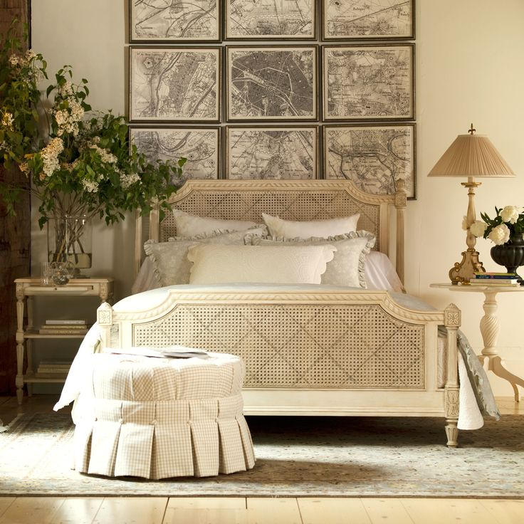 Elise Bed. Collection: Maison By Ethan Allen. Woven cane inserts in headboard…