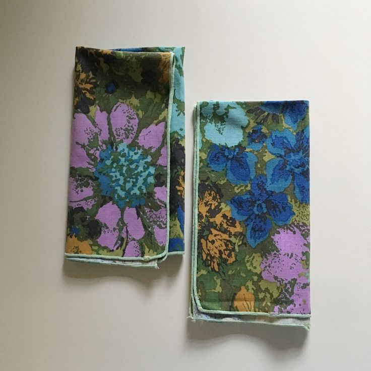 Set of 2 gorgeous vintage linen napkins, new old stock linen napkins, Bright floral retro decor, Purple , Avocado, linen napkin set, vintage by TheWovenMarket on Etsy https://www.etsy.com/listing/536781944/set-of-2-gorgeous-vintage-linen-napkins