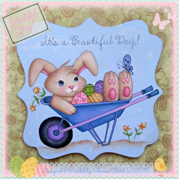 E PATTERN Beautiful Day Sweet Bunny in a Wheelbarrow by skb007