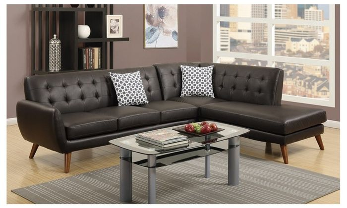 Hollywood Decor: Agarak Sectional Sofa Upholstered in Espresso Bonded Leather