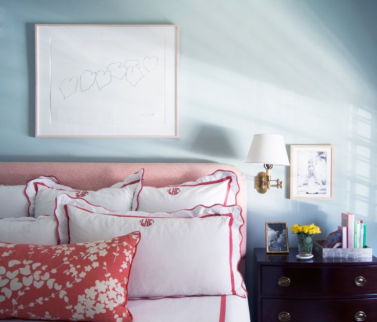 Bedroom, Light Blue + Coral/red, Monogrammed Shams Part 78