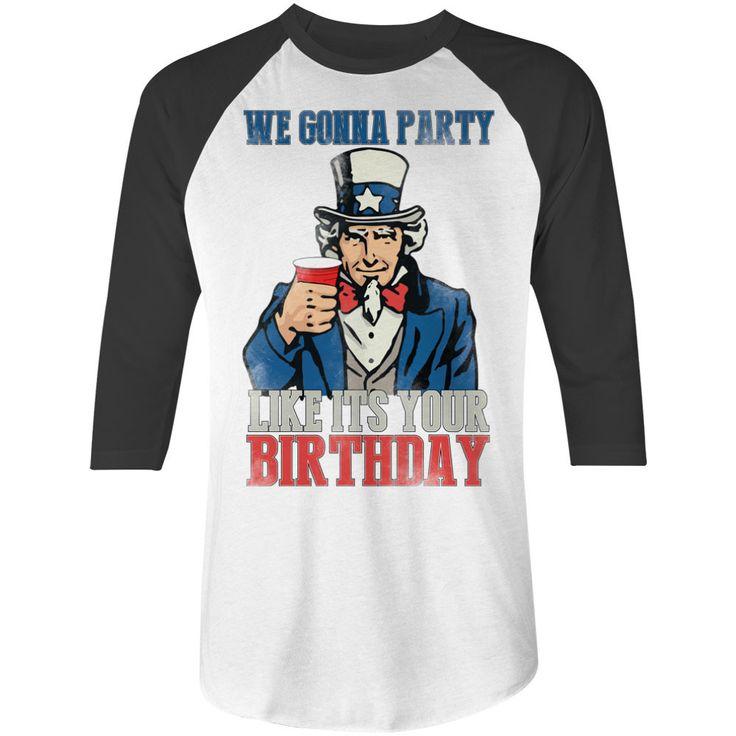 Party Like It's America's Birthday Baseball Tee Patriotic Shirt by NSNP