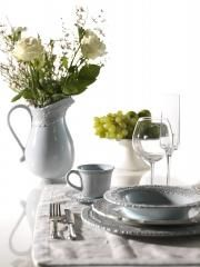Finezza collection, Lace tableware available in cream an blue color.  Representing By Tatjana Kern. More on www.bytatjana.com