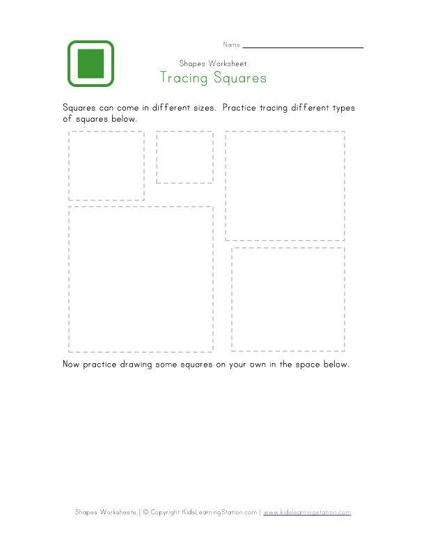 learning squares traceable worksheets pinterest squares shape and learning. Black Bedroom Furniture Sets. Home Design Ideas