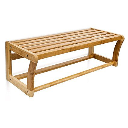 Relaxdays Portasciugamani mensola da bagno da parete bambù con le seguenti misure HBT: 60 x 20 x 25 cm, portaasciugamani da parete in legno di bambu´, colore marrone, ideale anche come mensola