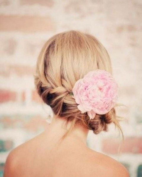 Braided Wedding Side Bun Hairstyle - Wedding Inspirations.     Don't like the flower though