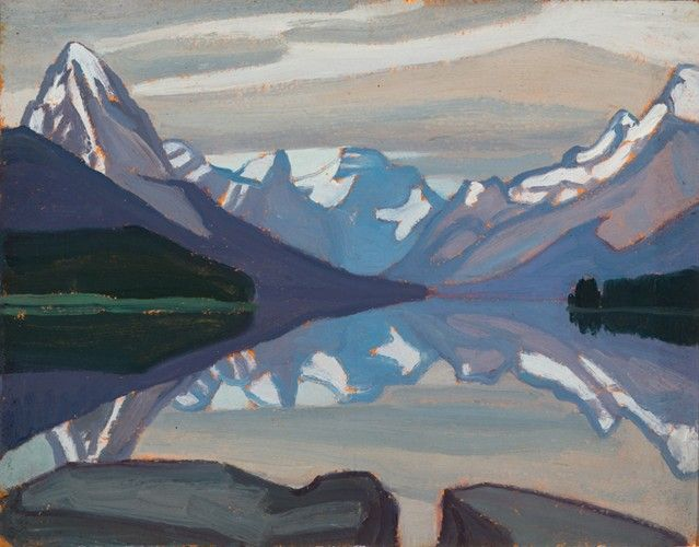Lawren Harris - Maligne Lake Jasper Park 10.75 x 13.75 Oil on Beaverboard (1924)