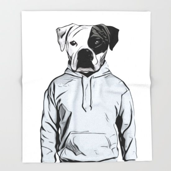 Cool Dog Blanket by Nicklas Gustafsson #dog #bulldog #boxer #human #illustration #hoody #hoodie #blanket #throwblanket