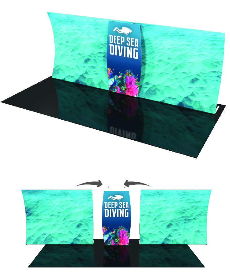 The Formulate™ Master Backwall Connector is an ideal accessory to connect two 10' or 20' Formulate backwalls. It features a pillowcase fabric graphic and connects easily tocreate the appearance of one seamless display. #Trade#show #Displays #Backwall. Call us today for a quote. 1-866-7ULTIMA (1-866-785-8462).