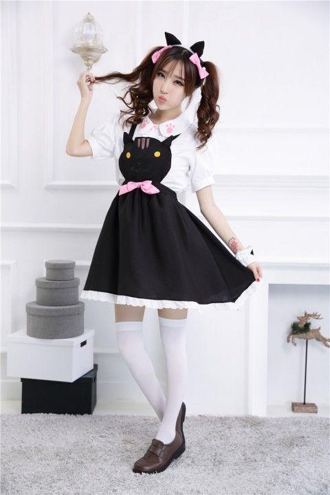 8329263c143 Cheap GLP Cute Cat Bowknot Chiffon Sweet Lolita Jumper Dresses 3 Colors - Fashion  Lolita Dresses   Clothing Shop