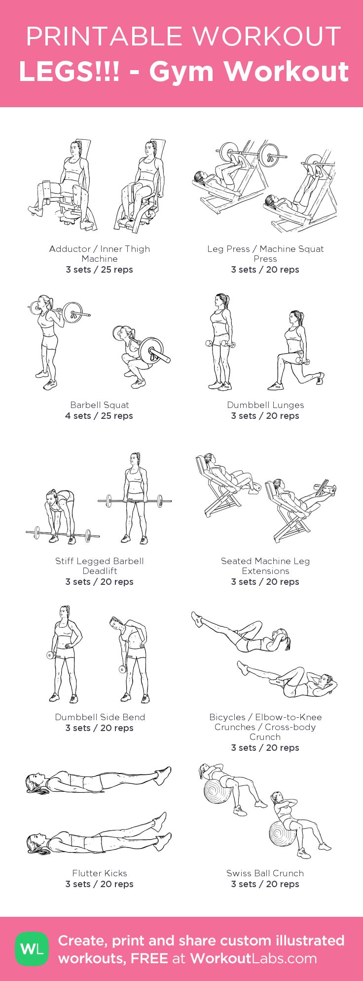 LEGS!!! - Gym Workout –my custom workout created at WorkoutLabs.com • Click through to download as printable PDF! #customworkout
