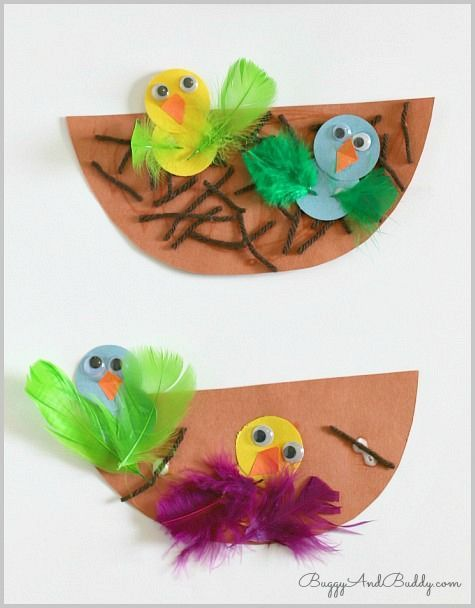 Spring & Easter Craft for Kids: Cute little baby birds in nest! (Perfect for toddlers and preschoolers) ~ BuggyandBuddy.com: