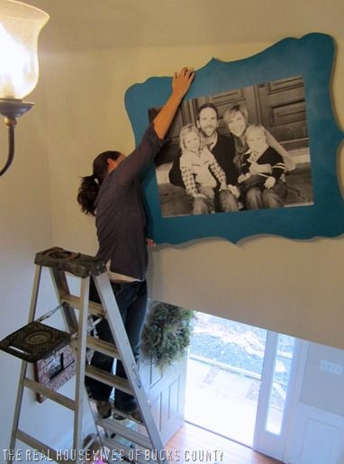 Probably one of the coolest Ideas I've seen so far!!     **Engineer prints at staples for 5 bucks!!! Who knew?!?! only black and white - largest size 3' by 4' ? - Hello, def doing this for my living room!Coolest Ideas, Families Pictures, Black And White, Large Picture, Diy Large Frames, Families Photos, Engineering Prints, Large Families, Pictures Frames