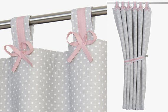 Susse Grau Rosa Vorhange Fur Baby Kinderzimmer Erroten Rosa Etsy Pink Blackout Curtains Pink Curtains Curtains