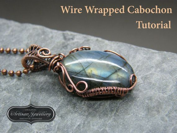 Wire Wrapped Cabochon Tutorial, Wire Wrapped Pendant Tutorial, Simple Cab Wrap, Original Artisan Jewellery, PDF Instant Download Pattern