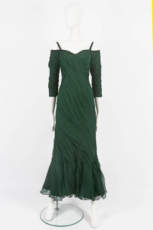 Antony Price bias cut chiffon evening gown, circa 1980s