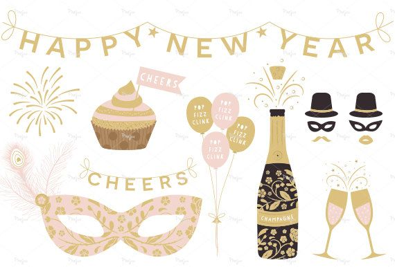 This New Year clip-arts collection comes with 27 hand drawn illustration which can be used for party flyers, greeting cards, labels, or any crafty
