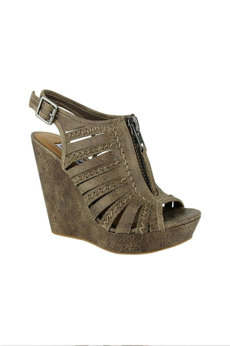 """A spellbinding wedge to add to your summer style mix!        Synthetic upper with zipper detail      Adjustable ankle strap buckle      Lightly cushioned footbed      4-1/2"""" wedge heel with 1"""" platform Saucy Summer Sandal by Not Rated. Shoes - Sandals - Heeled Oklahoma"""