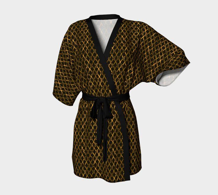 Check out the variety of colorful unisex Kimono Robes  like this 'Golden Brown Scissor Stripes' Kimono Robe by #Gravityx9 at ArtOnWhere - #giftforhim #kimono #kimonorobe #Brown #robe #fashion #mensfashion #womensfashion #giftforher
