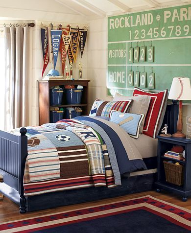 Awesome sports bedroom ideas for active boys. I love how the decor accessories work so well with the blue furniture in this Pottery Barn Kids Room.  This is Jason's bedroom set. I like that scoreboard. I think I found a tutorial at knockoff decor to make it.