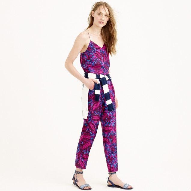 JCrew Midnight floral silk jumpsuit RETAIL $178~WISH PRICE $80
