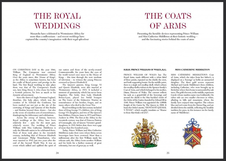 Official Program Royal Wedding Of Prince William And Kate Middleton