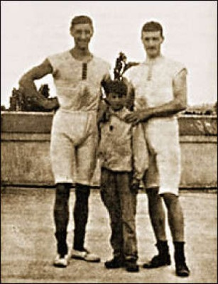Dimitrios Loundras, center, at the 1896 Olympics, a Greek gymnast won a bronze at the age of 10 years and 218 days.