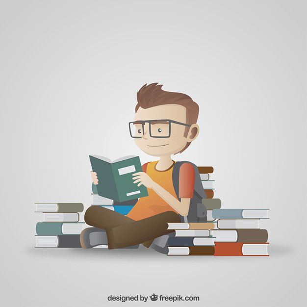 Student Reading Illustration Free Vector