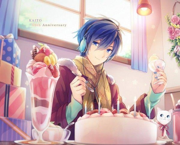 Tags: Anime, Akiyoshi, Vocaloid, KAITO, Silverware, Cake, Ice Cream