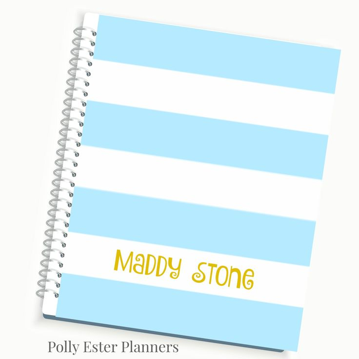 Planners and Organizers 2016 Planner Day Planner Blue and Gold Classic Pink Stripe Laminated Designer Cover Tab Pages Monthly Agenda (35.00 USD) by PollyEsterPlanners