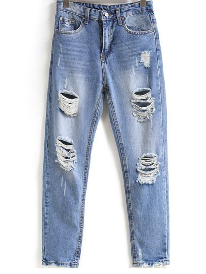 Blue Bleached Ripped Pockets Denim Pant -SheIn(Sheinside) Mobile Site