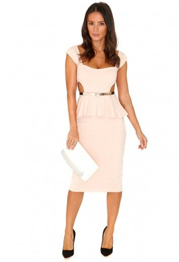 Missguided - Amya Cut Out Belted Peplum Midi Dress In Nude