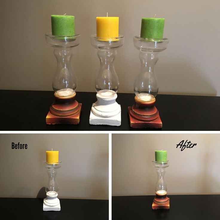 Glass candle holder with cement base